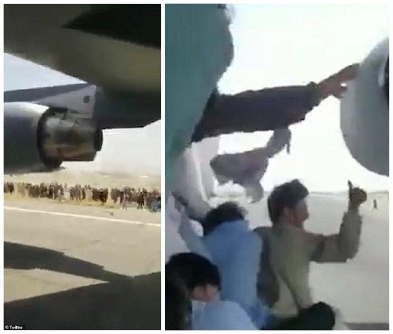阿富汗的神學士組織幾近佔領全國,許多平民百姓湧往機場打算逃亡,近日推特出現「第一手」的影片,可見到有人自拍他跟一群人跳上一架C-17的右側機輪輪罩上,更有人對著地面人群比「讚」。畫面翻攝:MAILONLINE/The Sun
