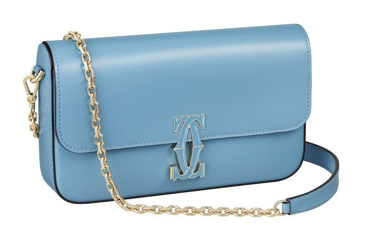 Double C de Cartier卡布里藍色小牛皮迷你款鍊帶包,金色鍍層飾面...