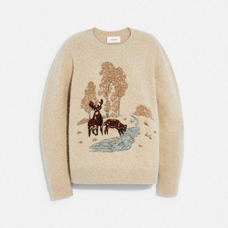 動物圖樣羊毛衫,16,800元。圖/COACH提供