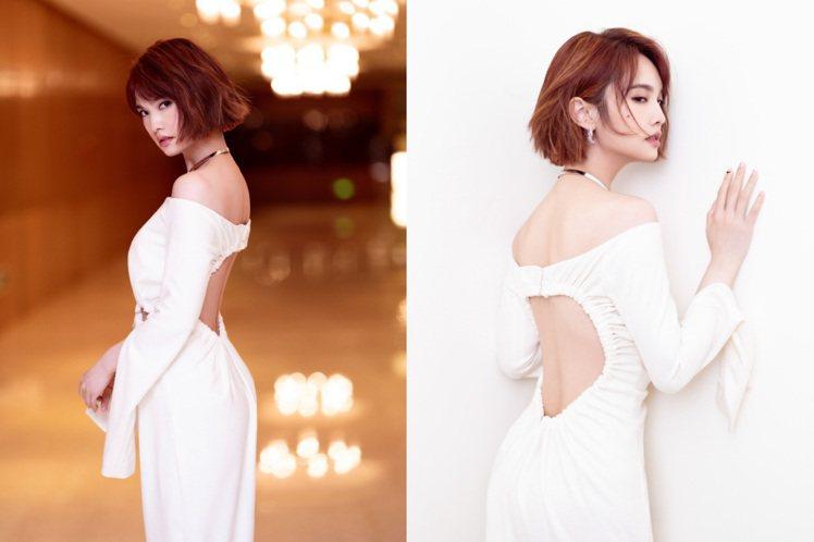 楊丞琳禮服大挖背。圖/摘自微博
