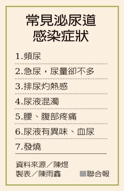 常見泌尿道感染症狀。 資料來源/陳煜、製表/陳雨鑫