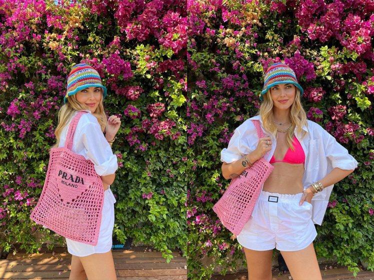 Chiara Ferragni以浪漫粉紅色點綴度假時光。圖/取自IG影片