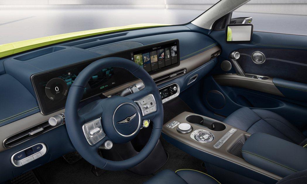 全新Genesis GV60車內的數位儀表與中控式螢幕為一體成型設計。 摘自Ge...
