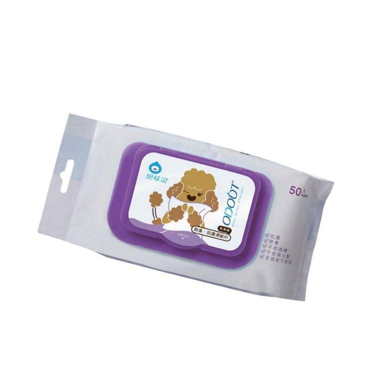 ODOUT臭味滾狗用抑菌濕紙巾50抽6件組,momo購物網活動優惠價422元。圖...