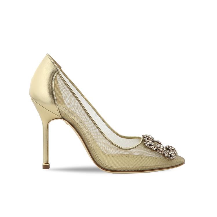 黃金膠囊系列Hangisi金色透視高跟鞋。圖/Manolo Blahnik提供