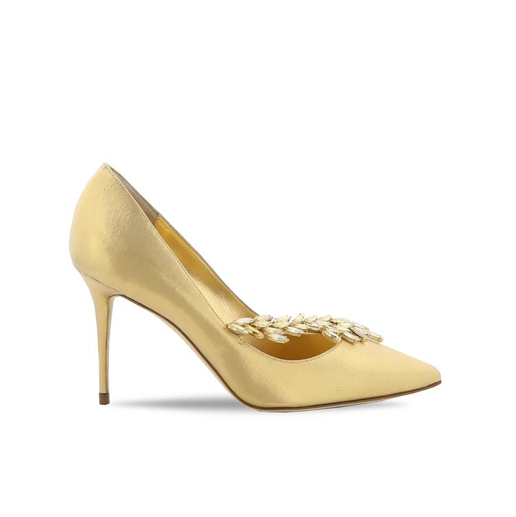 黃金膠囊系列Nadira金色鑽飾高跟鞋。圖/Manolo Blahnik提供