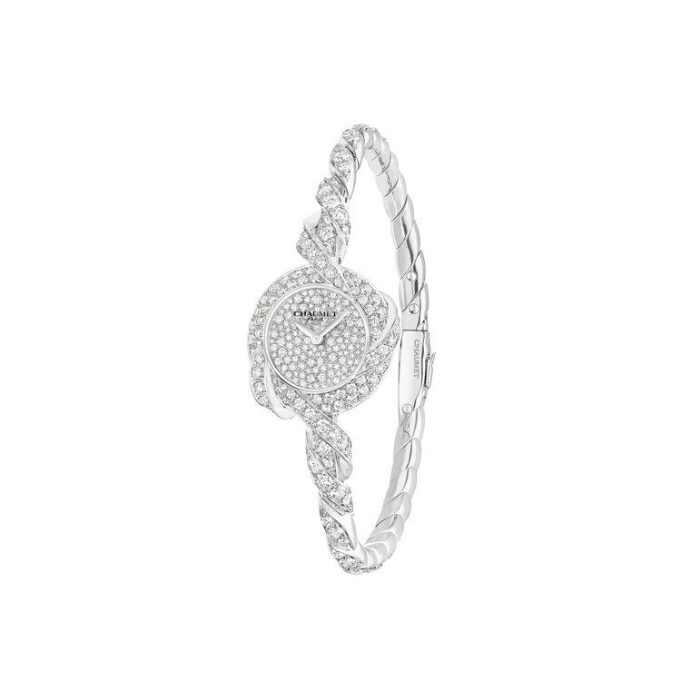 CHAUMET Torsade de Chaumet 18白金鑲鑽腕表,約800...