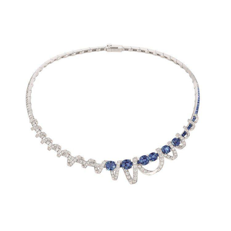Torsade de Chaumet 18K白金項鍊,鑲嵌6顆斯里蘭卡枕形切割藍...