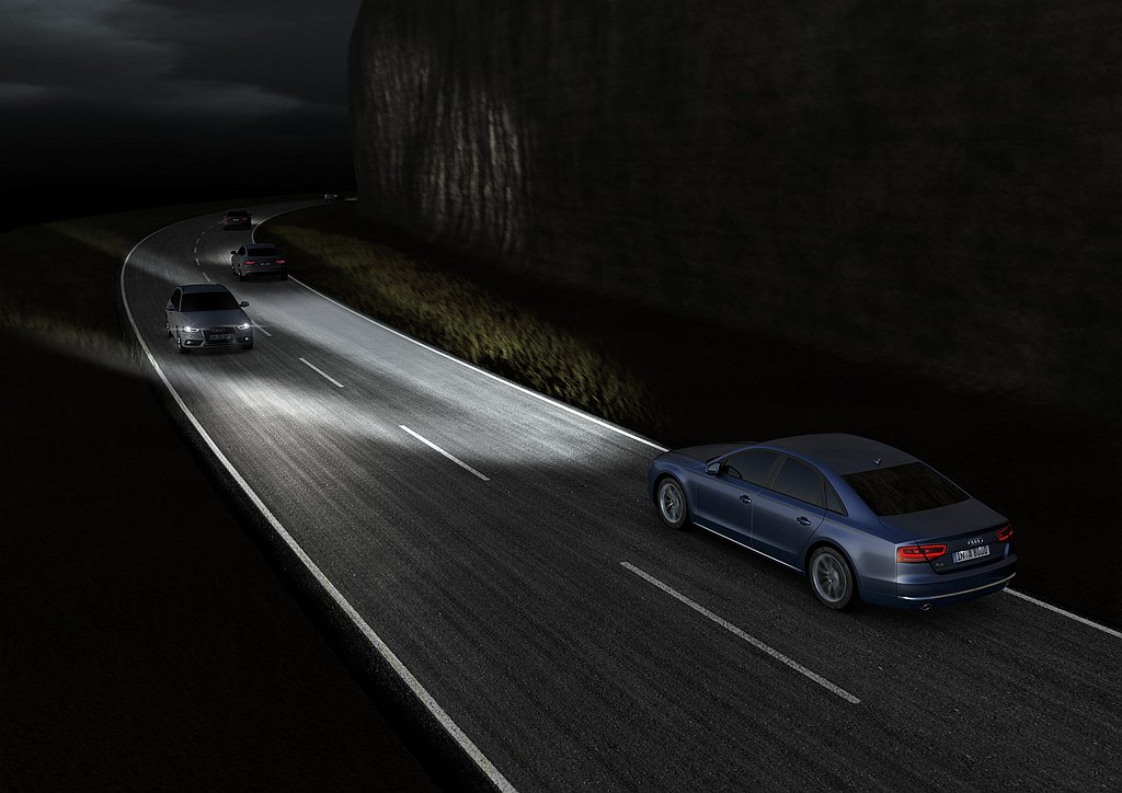 Audi A7與Audi Q8系列車款搭載HD Matrix高階矩陣式燈光科技,...