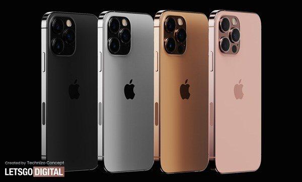 日前流出一組iPhone 13 Pro渲染圖,除了基本款的黑白外,將復刻玫瑰金與日落金。 圖擷自蘋果匯