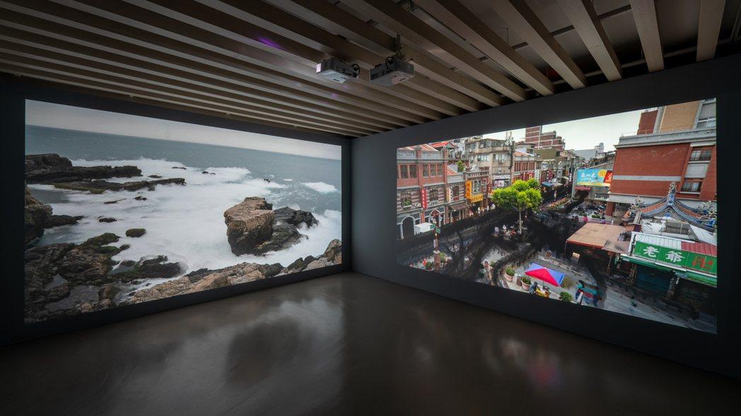 〈寫生習作001‒海景〉(左)與〈寫生習作002‒台北市景〉(右)呈現光影流動、...