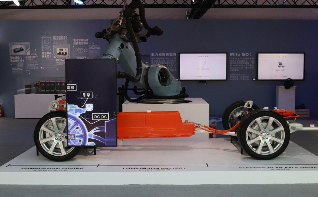 PHEV 雙能電動體驗展特別從瑞典原廠空運一座 PHEV SPA 展示底盤,搭配...