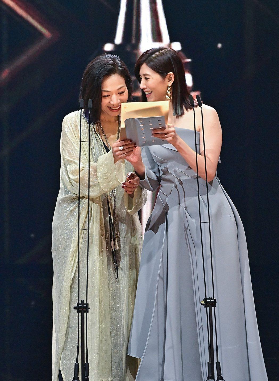 萬芳(左)和蘇慧倫搭檔頒獎。圖/台視提供