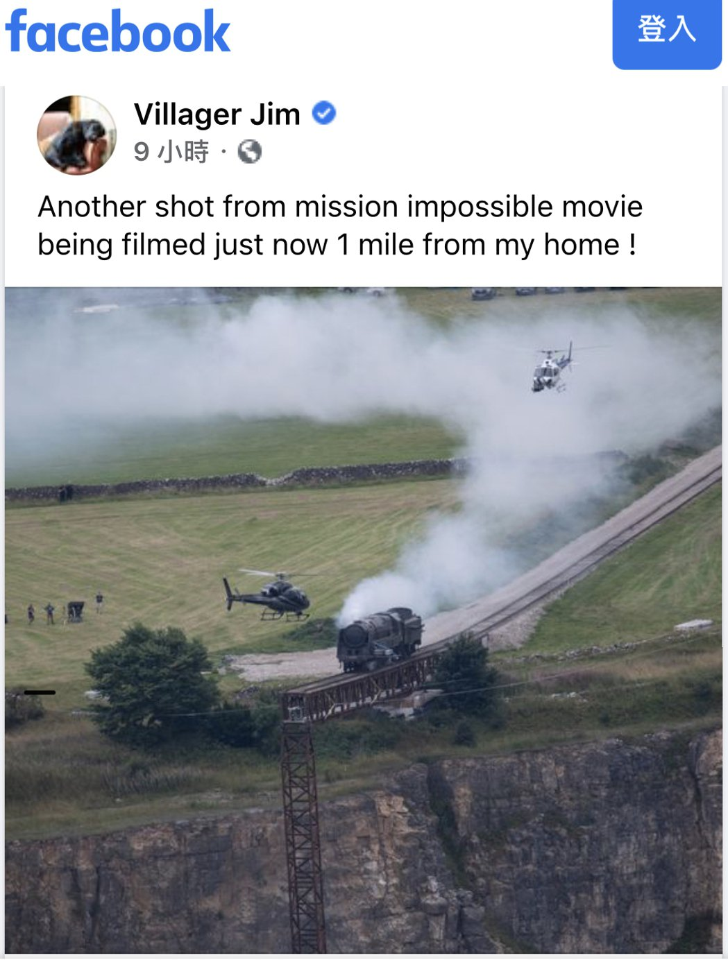 德比郡攝影師Villager Jim拍到「不可能的任務7」在當地出外景。圖/摘自
