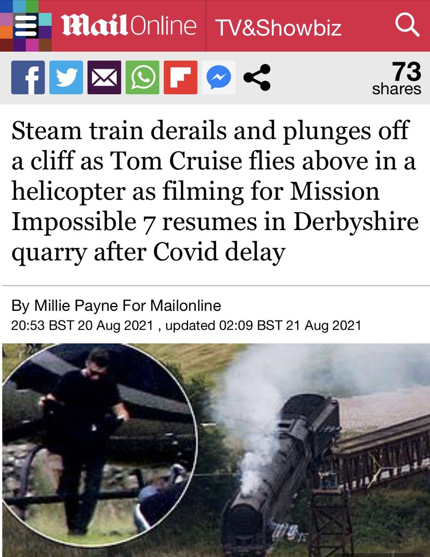 英國媒體報導「不可能的任務7」最新拍攝進度。圖/摘自Daily Mail