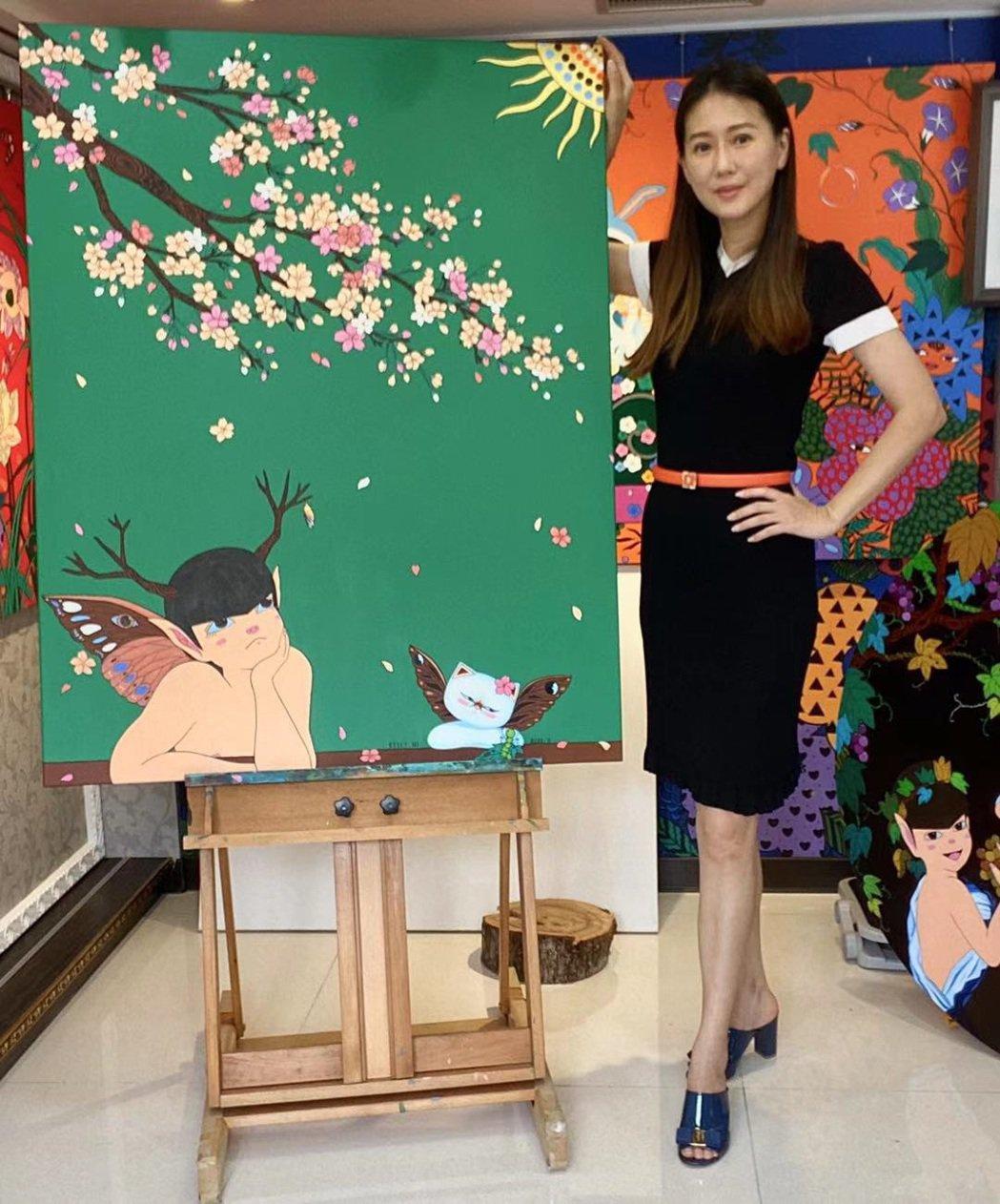 明星藝術家米凱莉疫情期間創作畫作「我等到花兒也謝了」之一「等待」,期待大家破繭而...