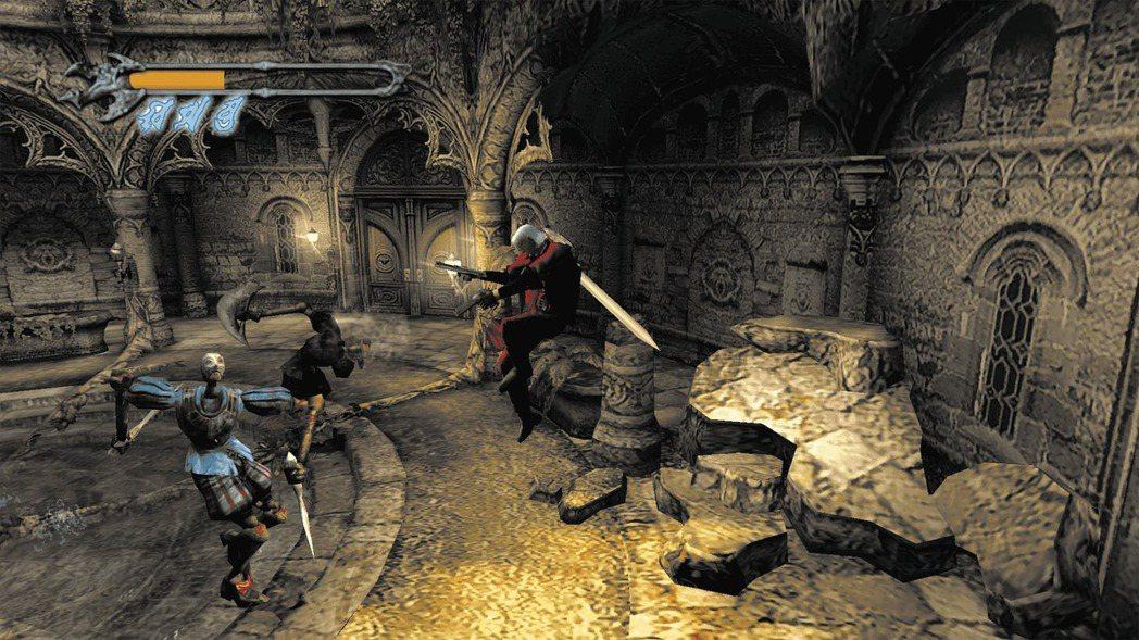 「跳躍」是惡魔獵人從惡靈古堡衍生出走的一個主要差異要素,這讓人物有更多的動作變化...