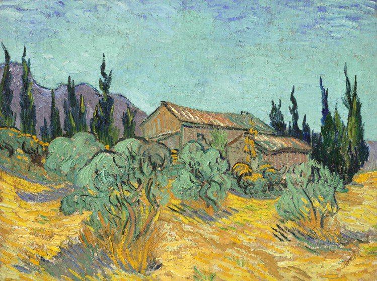 梵谷「橄欖樹和柏樹間的木屋」,1889年10月作,估價約4,000萬美元起。圖/...