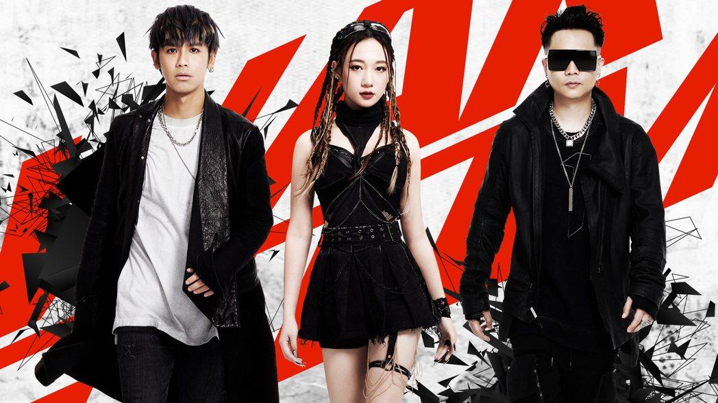 鼓鼓(左起)和吳卓源、蕭秉治合作新歌。圖/相信音樂提供