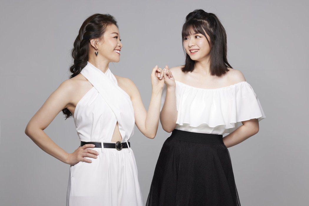 謝宜君(左)邀校花女兒陳欣妤同框演出新歌「幸福的甜蜜」MV。圖/豪記唱片提供