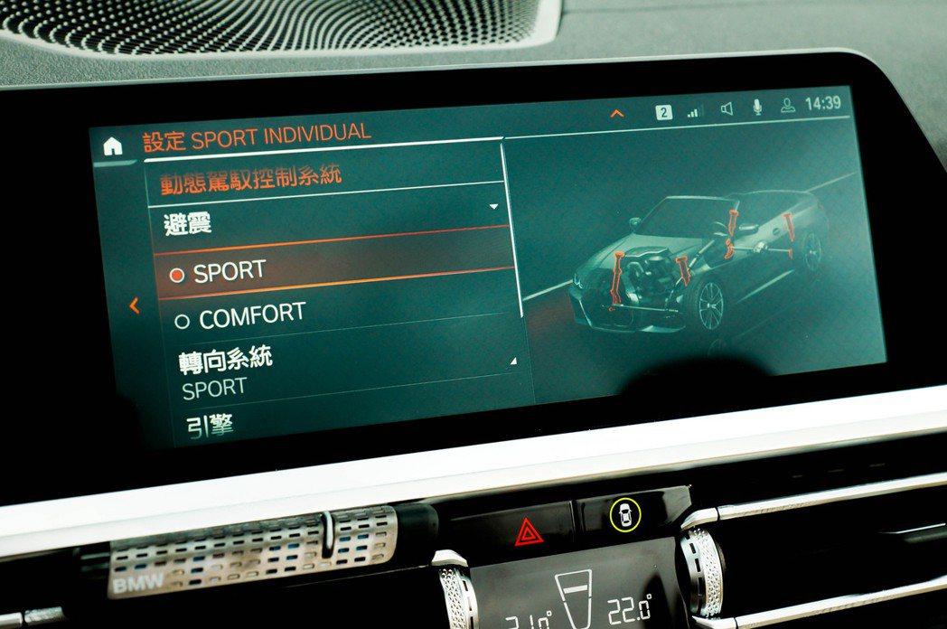 本次試駕車有選配3萬8千塊的M款跑車化電子懸吊,有兩種模式可調整。 記者趙駿宏/...