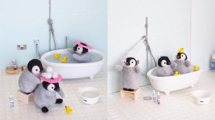 trois M多次以愛洗澡的小企鵝為主題創作。圖/取自IG @trois_em