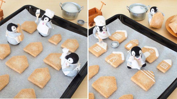 小企鵝們正在烤餅乾。圖/取自IG @trois_em