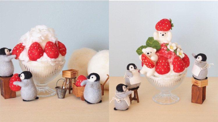 熊抱草莓挫冰相當可愛。圖/取自IG @trois_em