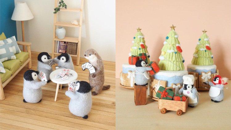 小企鵝和朋友一起玩撲克牌、布置耶誕裝飾。圖/取自IG @trois_em