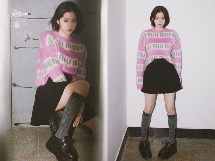 歐陽娜娜身穿miu miu服裝、裙子及鞋履。圖/取自IG