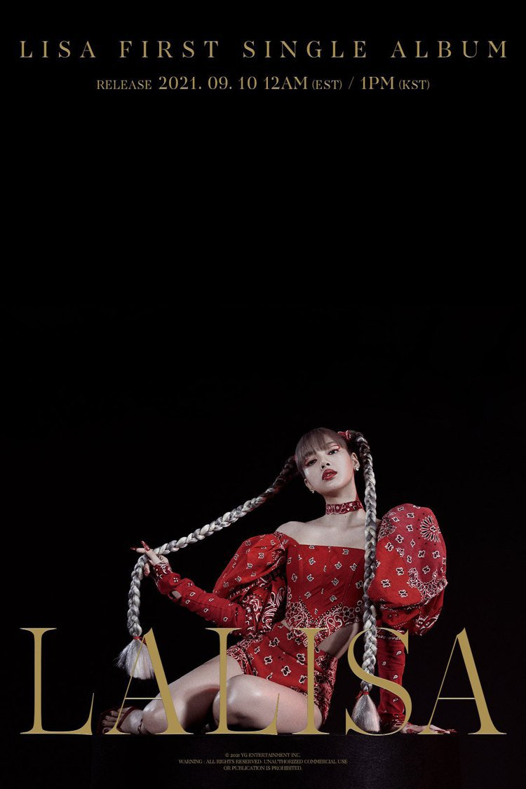 深夜11點,BLACKPINK的Lisa親自揭曉清晰版的全新單曲海報。圖/摘自f...