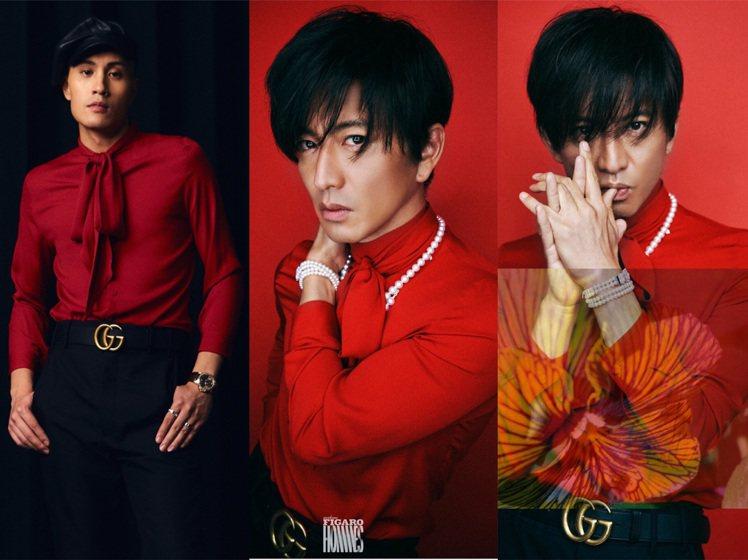 木村拓哉身穿GUCCI紅色襯衫,撞衫黃宣(左1)的金曲獎造型。圖/GUCCI提供...