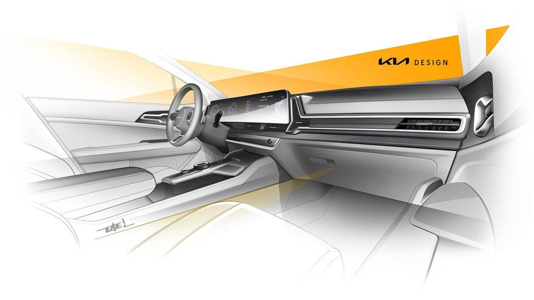 歐規大改款Kia Sportage內裝設計草圖。 摘自Kia