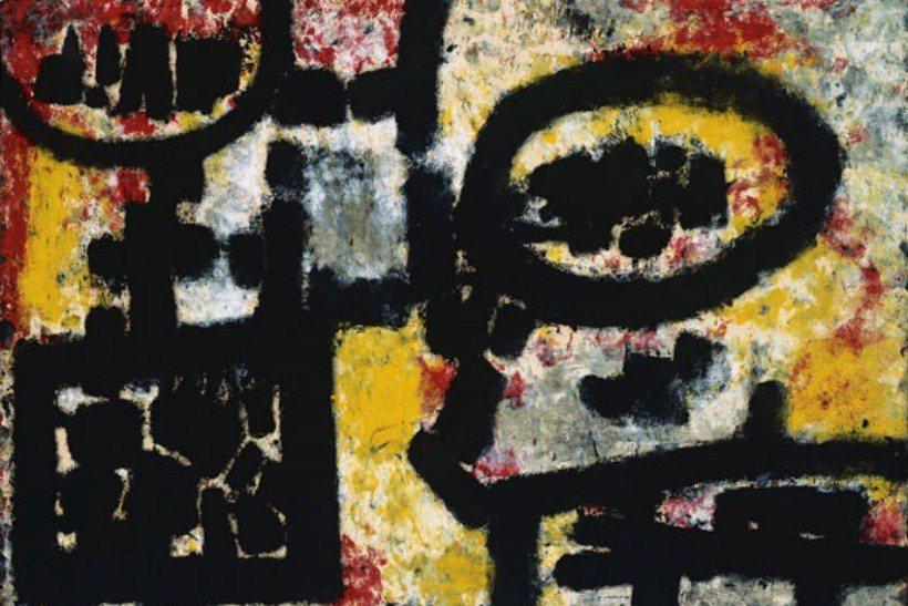 政戰學校藝術系教授梁中銘和梁又銘兩兄弟聲稱秦松展出的兩幅抽象畫作其中一張暗藏著倒寫的「蔣」字,並向警備總部等情治單位指控其思想有問題,為「共匪」作統戰、宣傳「反蔣」和「倒蔣」。圖為秦松的畫作《春望》。 圖/台北市立美術館提供