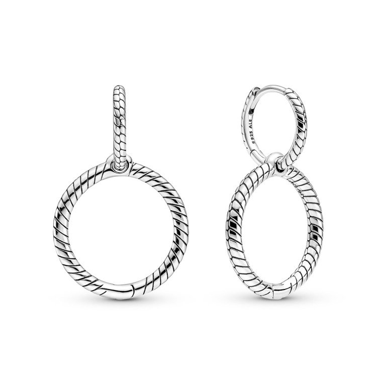 Pandora蛇鍊圖騰925銀雙圈耳環,2,880元。圖/PANDORA提供
