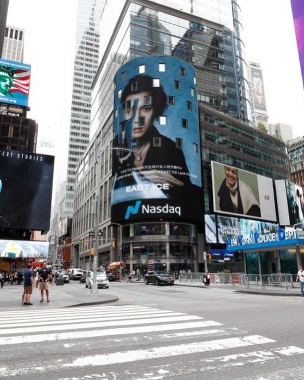 楊宇騰登上紐約時代廣場。圖/泓康天下娛樂文創提供