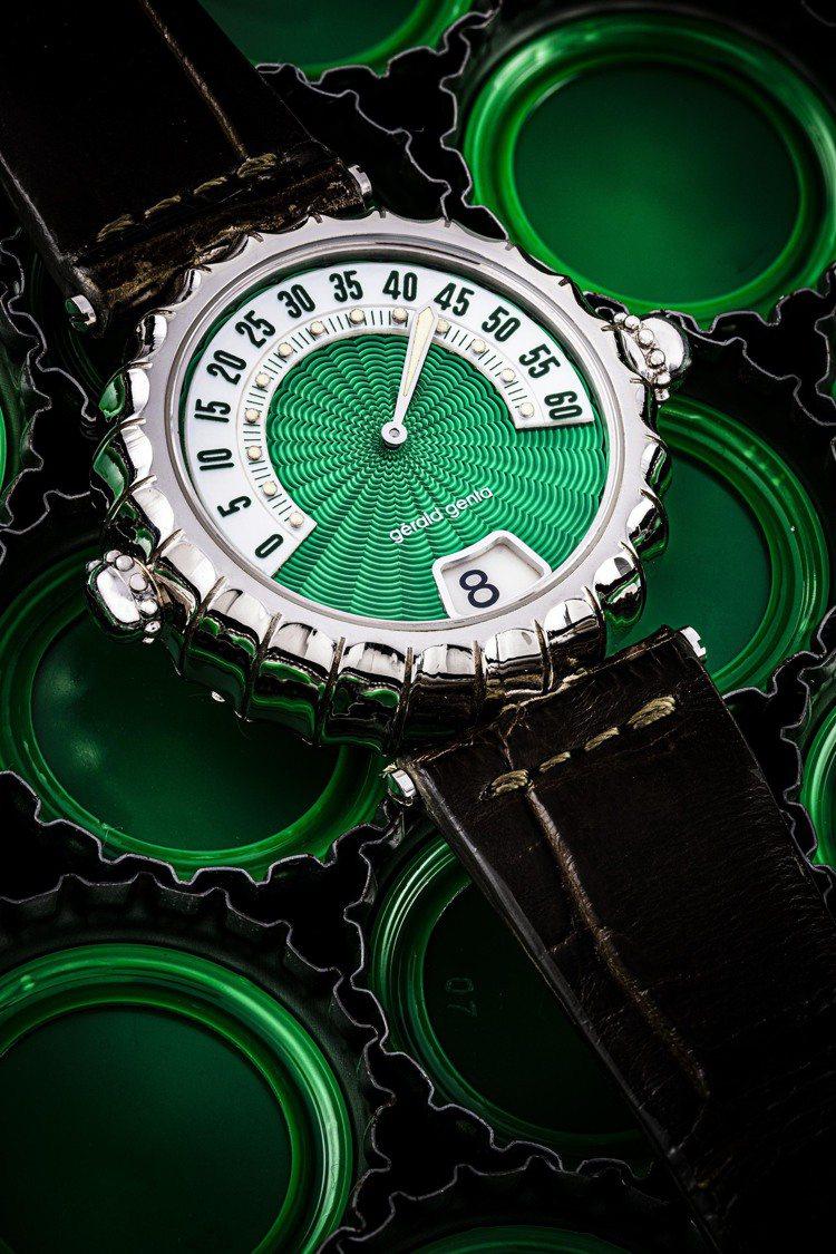拍品編號96,Gérald Genta 設計三問報時腕表連跳字小時及逆跳分針,...