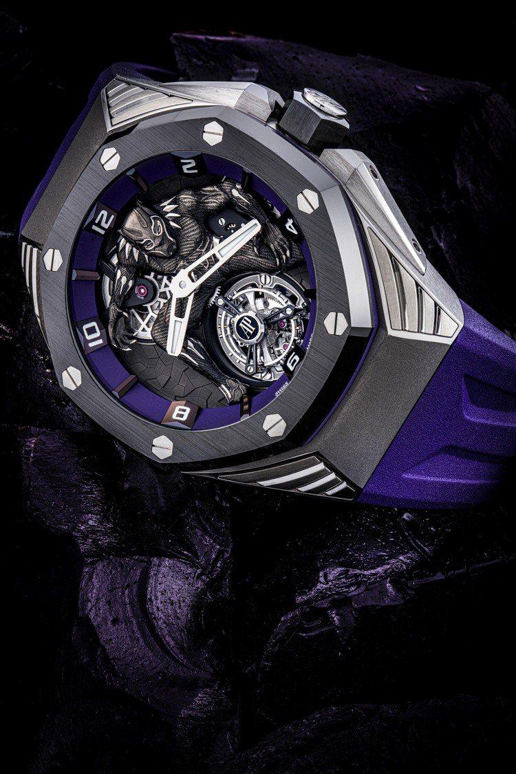 愛彼皇家橡樹概念之黑豹飛行陀飛輪腕表,估價300萬港元起。圖/佳士得提供