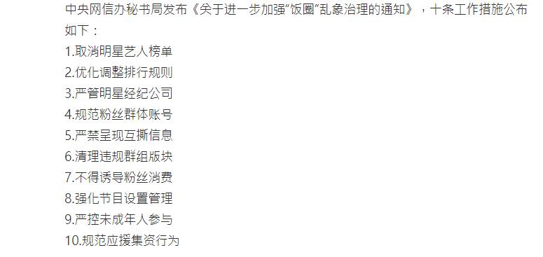 中國官方治理飯圈10項新規。 圖/擷自微博
