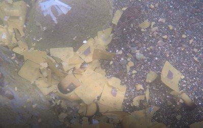 潛水發現海底有很多金紙、塑膠電線、燈具等。 圖/嚴佳代提供