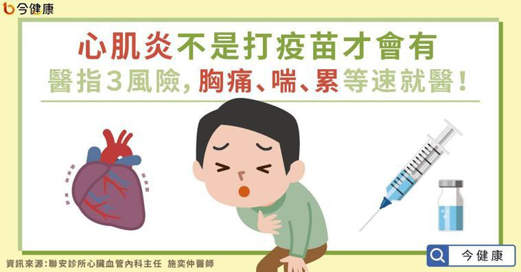 心肌炎不是打疫苗才會有!醫指3風險,胸痛、喘、累等速就醫。