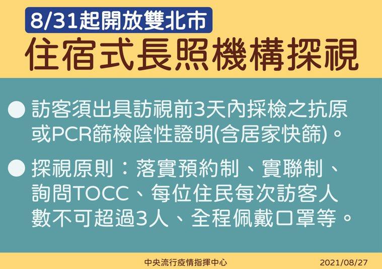 陳時中表示,雙北不是中高風險區域,8月31日起,雙北可以開放長照機構探視。圖/中...