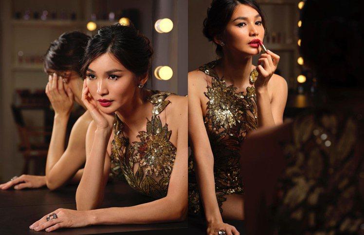 陳靜Gemma Chan拍攝妝品廣告。圖/摘自instagram