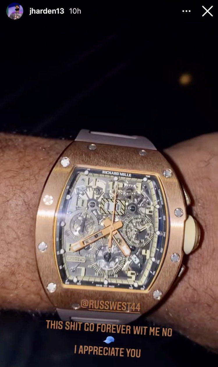 詹姆士哈登(James Harden)日前在instagram秀出一則手表照片並...