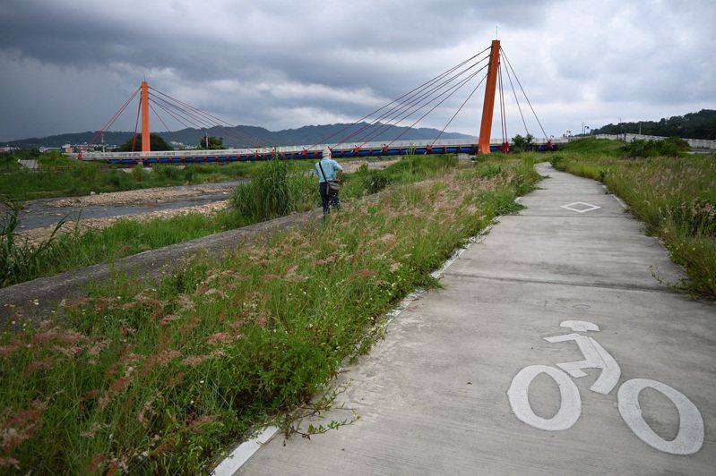 苗栗西湖溪銅鑼段的溪畔,在原有的濱溪植被中加鋪水泥自行車道,一條水岸就有三條水泥步道,專家諷刺「看了真的臉上會三條線」。記者鄭朝陽/攝影