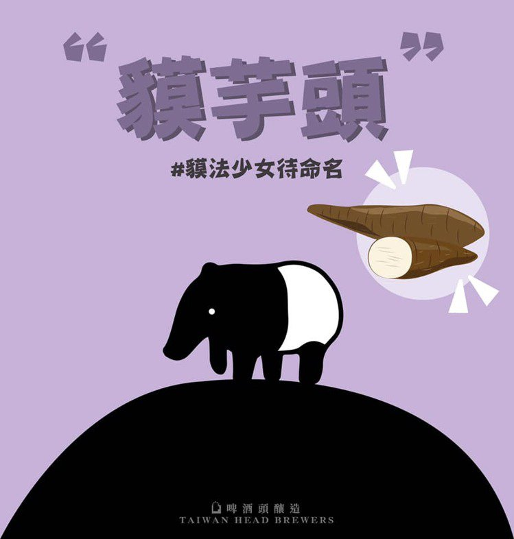精釀啤酒品牌「啤酒頭釀造」響應台北市立動物園的「貘法少女待命名」活動,並以「貘芋...