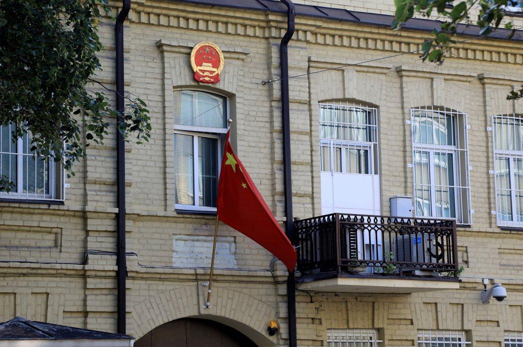 圖為駐立陶宛中國大使館。 圖/歐新社