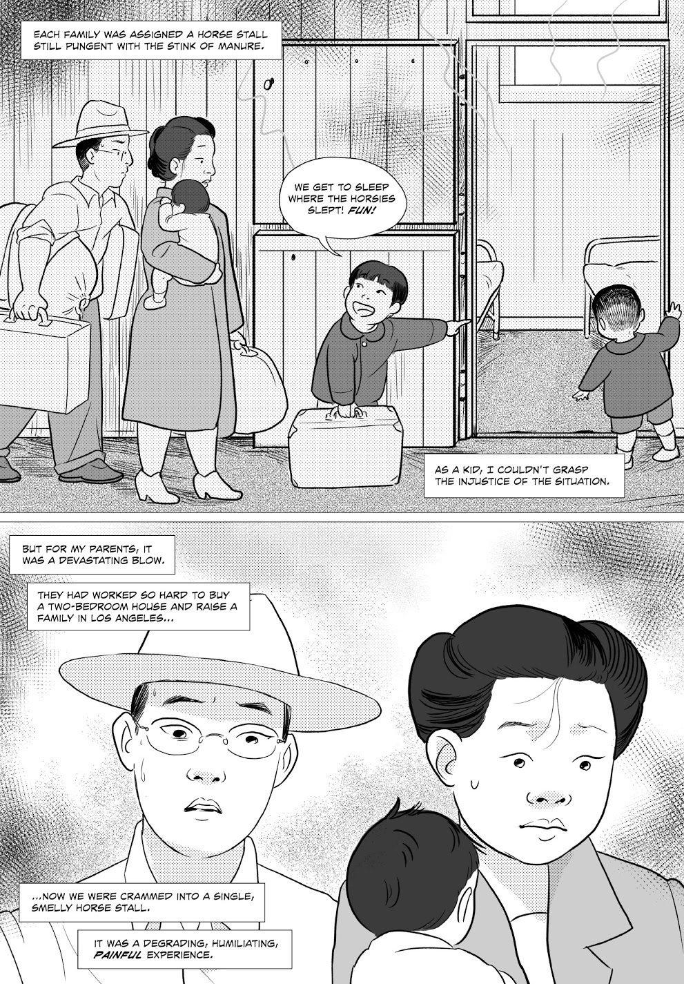 透過小喬治和弟弟天真無邪的視點,對比父母拼命想在孩子面前隱藏內心的擔憂和焦慮的表現,來呈現當時日裔美國人對未來命運的恐懼和茫然。 圖/《他們稱我們為敵人》