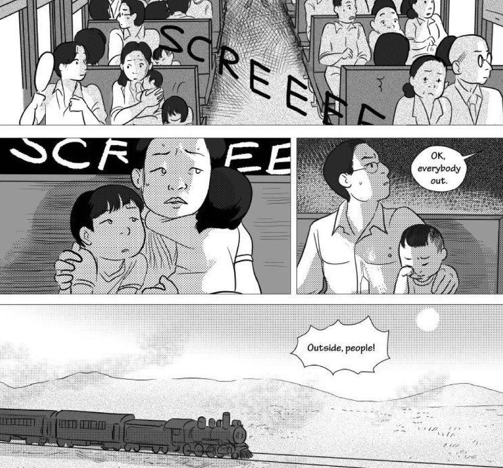 小喬治對這趟火車之旅充滿了閃閃發亮的愉快回憶,然而他的爸媽其實一直處在下一秒可能就會喪失性命的巨大恐懼中。 圖/《他們稱我們為敵人》