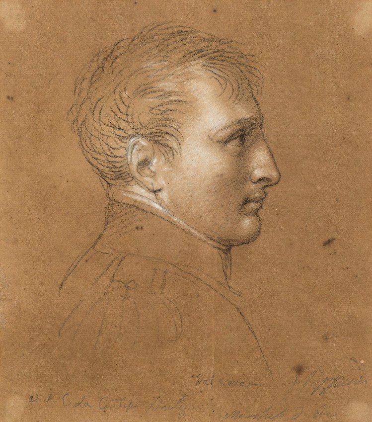 出自拿破崙宮廷畫家Andrea Appiani的拿破崙肖像「dal vero」,...